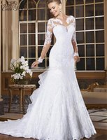 Wholesale White Tail - C.V Long Sleeve Appliques Beaded Mermaid Wedding Dress Illusion Sheer Neck Lace Style Fish Tail Bridal Wedding Gown W0004