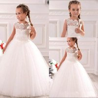 Wholesale Cute Girl Christmas Cap - White Ivory First Communion Dresses Cute Little Girls pageant Dresses Tulle Ball Gown Floor Length Flower Girls Dresses