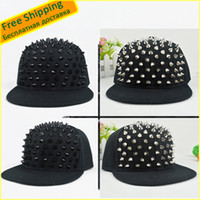 Wholesale Silver Studded Cap - Wholesale-Studded Black Rivet and Silver Rivet Men Women Fashionable Adjustable Baseball Cap Rock Hip-Hop Snapback Hat Cap Free Shipping