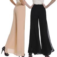 Wholesale palazzo chiffon - Wholesale-Women Ladies Vintage Loose High Waist Long Trousers Chiffon Side Split Casual Palazzo Pants Wide Leg Pants pantalones
