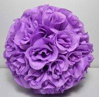 ingrosso decorazione palla rosa viola-25cm viola SPEDIZIONE GRATUITA decorazione di nozze in seta che bacia la palla di fiori rosa