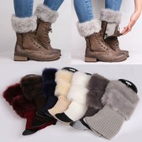 Wholesale Womens Warm Boots - Womens Leg Warmers Women Winter Warm Knitted Boot Cuff Fur Trim Knit Toppers Boot Socks Leg Warmers