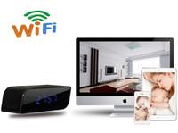 Wholesale Nanny Wireless Spy Camera - A106 WiFi Alarm Clock Hidden Spy Camera P2P with Motion Detection night vision nanny camera clock DVR