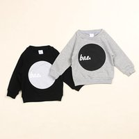Wholesale Hot in INS spring children raglan sleeve Sweater boys girls baby Hoodie Hoody kids tops cotton clothes black grey cm cm