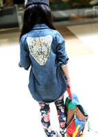 Wholesale Coat Kids Down Jacket 5pcs - MOQ=5PCS autumn new Korean girls Long Sleeve cowboy wind coat kid jacket with leopard children's clothes with paillette free shipping