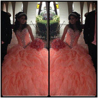 Wholesale Long Sweet Sixteen Dresses - Orange Long Sweet 16 Sixteen Puffy Quinceanera Dresses Ball Gown Crystal Beaded vestido de 15 anos