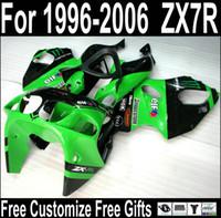 kit carenado moto kawasaki zx7r al por mayor-Carenados de la motocicleta de venta caliente para Kawasaki ZX7R kit de carenado negro verde 1996-2003 ZX7 Ninja ZX750 96-03 MJ71