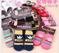 Wholesale Dog Shoes Winter Pet - Hot pet dog cat warm socks for winter Cute Puppy Dogs Soft Cotton Anti-slip Knit Weave Sock Skid Bottom Dog cat Socks Clothes 4pcs set