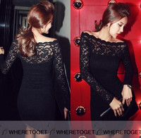 Wholesale Vintage Boat Lights - Black Off-Shoulder Lace Cocktail Dresses Boat Neck Long Sleeves Evening Wear Mini Sheath Prom Party Gowns 2016