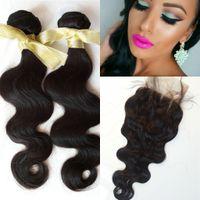 reinas productos para el cabello cuerpo onda al por mayor-Pelo virgen de onda de cuerpo malasio con cierre de cordón 4x4 productos de cabello de reina negro natural paquetes de 3 piezas con cierre G-EASY