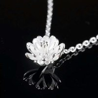 Wholesale Wholesale Lotus Flower Jewelry - 925 sterling silver items crystal jewelry pendant statement necklaces silver lotus flower wedding charms ethnic vintage