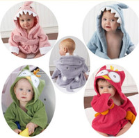 Wholesale Toddler Hooded Bath Robes - 20 Styles 65cm Cute Newborn Baby Hooded Pajamas Animal Bathrobe Cartoon Baby Towel Kids Bath Robe Infant Toddler Bath Towels CCA8073 30pcs