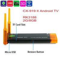 CX-919II Android TV Box Quad Core RK3188 2G RAM 8G 4.4.2 Мини-ПК 2 Антенна WiFi HDMI медиа-плеер Смарт-ресивер