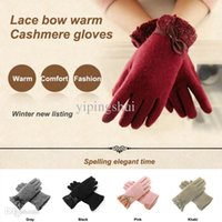 Wholesale Buy Fashion Gloves - Wholesale-Limit buy new listing Charming autumn winter women's gloves double layer lace bow wool cashmere thick warm gloves female