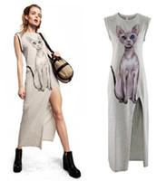 Wholesale Cat Eye Shirt - Wholesale-Free Shipping New Arrial Blue-Eye Cat print 3d shirts gray one-piece Tank dress Ladies Modal Long Casual Dress,5 colors