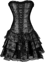 Wholesale Tight Corset Dresses - Wholesale-Hello Tem women corset dress gothic fashion tight lacing women shapers& corsets strapless string lingerie sexy gothic clothing