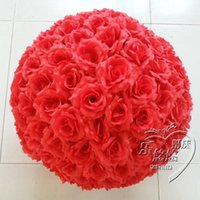 """Wholesale Silk Flower Ball Orange - 12 """" 30 cm Big Size Red Rose Hanging Ball Artificial Encryption Rose Silk Flower Kissing Balls For Wedding Party Centerpieces Decorations"""