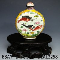 Wholesale Hand Painted Snuff Bottles - Chinese Cloisonne Hand-painted Fish Snuff Bottle w Qianlong Mark