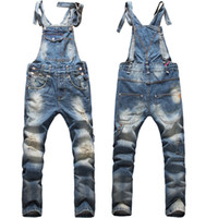 Wholesale Men S Denim Overalls - Wholesale-2016 Brand Fashion New Mens Ripped Denim Overalls Jeans Men's Clothing Casual Distrressed Jumpsuit Jeans Pants For Man