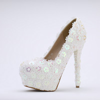 Wholesale Sequin High Shoe - Elegant White Lace Pearl Wedding Shoes High-heeled Sequins Bride Shoes Wedding Banquet Shoes Ladies Single Shoes