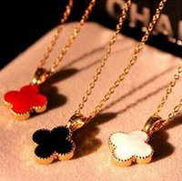 Wholesale Temperament Fashion Shop - Fashion women lady hot sell jewelry temperament clovers love pendant necklace shape 3 colour cc-62 free shopping