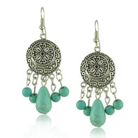 Wholesale celtic tribal - Bohemian Ethnic Tribal Retro Vintage Style Silver Resin Turquoise Drop Dangle Earring Boho Earrings Wholesale 12 Pairs