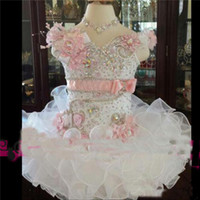 Wholesale Girls Beauty Pageant Cupcake Dresses - Beauty Cute White And Pink Toddler Girls Pageant Dress Organza Beads Tiered Cupcake Prom Party Baby Little First Communion Ball Gown