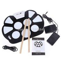 Wholesale Drum Kit Usb Midi - 128 White USB MIDI Drum Kit PC Desktop Roll up Electronic Drum Pad Portable with Drum sticks