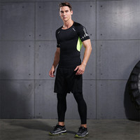Wholesale Hoodies Pants Sports Wears - Men Gym Clothing Fitness Wear Sports Suits Bodybuilding Compression Tights T Shirts and Pants Set Hoodie Running Basketball Sports Jerseys