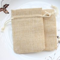 Wholesale Shabby Chic Bags - 100pcs 6*9cm small Burlap Bags with Drawstring wedding birthday favor bags, Thank You Rustic Shabby Chic Candy Bags