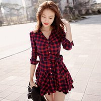 Wholesale Womens Summer Dress Shirts - Womens Retro Long Sleeve Dress Red Plaid Lapel V Neck Shirt Dress Belted Dress