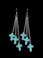 Wholesale Ethnic Crosses - Bohemian Ethnic Blue Turquoise Earring Vintage Long Cross Earrings for Women 12pec lots