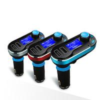 melhores carros de kit venda por atacado-Melhor Bluetooth Car Kit Mãos Livres MP3 Player Com Transmissor FM Dual 2 Suporte Para Carregador de Carro USB SD Linha em AUX T66