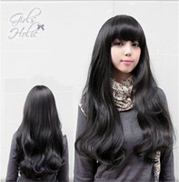 Wholesale Long Curly Hair Bangs - WoodFestival women long curly wig brown black wavy natural hair wigs with bangs high temperature silk synthetic fiber wig