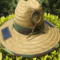 Wholesale wide brimmed cooling hats - Wholesale-Anti Heatstroke Solar Powered Fan Sun Hat Cap Lierihattu with Cooling Cool Fan for Farmer Fishing Hiking