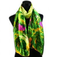 Wholesale Hot Pink Silk Flowers - 1pcs Women's Fashion Satin Green Leaves And Hot Pink Flower Oil Painting Long Wrap Shawl Beach Silk Scarf 160X50cm