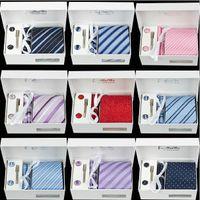 Wholesale Gravatas Jacquard - High Quality Men's 100% Silk 8 cm Necktie and Cufflinks & Tie clip + Hankies with 4pcs  set Gravatas Jacquard Wedding Prom Party