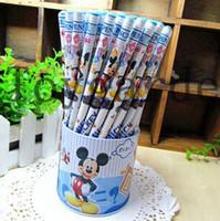 Wholesale Wooden Pencil Boxes Wholesale - Free Shipping! Fashion Mickey Mouse Pencil Wooden Pencil Set Stationery Set (72pcs set) on Sale Wholesale