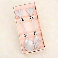 Wholesale spoon fork wedding souvenir for sale - Group buy Perfect Pair Coffee Spoons and fork in gift Box Party Europe type style souvenirs Wedding Gifts for Guest