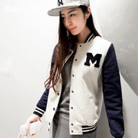 Wholesale Blue Baseball Jacket Coat - New Autumn and Winter Letter M Varsity Jacket Long Sleeve Baseball Coat Sportwear women Baseball Sports hoody sweatshirt outerwear