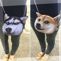 Wholesale Dog Shaped Handbags - New Designed Spring Women Shoulder Bag 3D cute Cat dog bags Shape Women Handbag Fashion Retro Women Bag