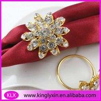 Wholesale Napkin Ring Cheaper - (100pcs lot ) cheaper gold metal flower napkin rings