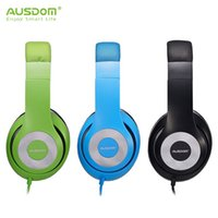 Wholesale Earphone Cup - AUSDOM F01 Wired Headphones Extremely Soft Leather Ear Cup Handsfree Headband Headset Over-ear Earphones with 3.5mm Jack