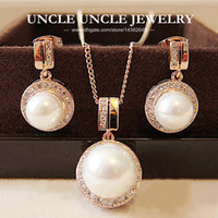 Rose Gold Color Shell Round Simulated Pearl Element Rhinestones Micro Setting Luxury Lady Jewelry Set Colar / Brinco Atacado