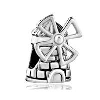 windmühlenarmband großhandel-Großhandel Großes Loch Dia Bead Reisen Windmühle Lucky European Charm Spacer Metall Bead Fit Pandora Armband
