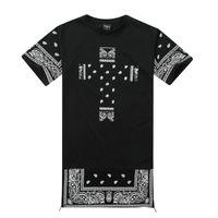 Wholesale T Shirt Bandana - Men harajuku hip hop bandana kany west long t-shirt men side zipper extended t shirt oversized dress tshirt homme swag clothing