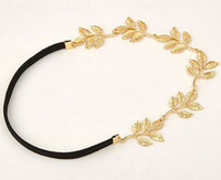 Wholesale gold leaf headbands - New lady gold Olive leaf headband head piece chain leaves golden elastic band head band free shipping