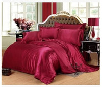 Wholesale Fitted Bedspreads Twin - Silk bedding set Wine red california king size queen full twin fitted satin sheets duvet cover bed in a bag bedspread doona 6pcs