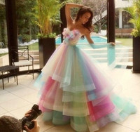 Wholesale Rainbow Vintage - 2016 Colorful Rainbow Prom Dresses A Line Sweetheart Floor Length Long Prom Gowns Sleeveless Tulle Vestidos De Fiesta 100% Real Photos