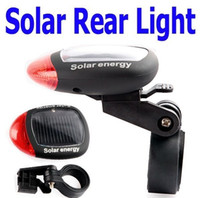 Wholesale New Bike Lights - New arrival! 2 LED Solar Power Bike Bicycle LED Tail Rear Light Lamp LED warning light - Free Shipping